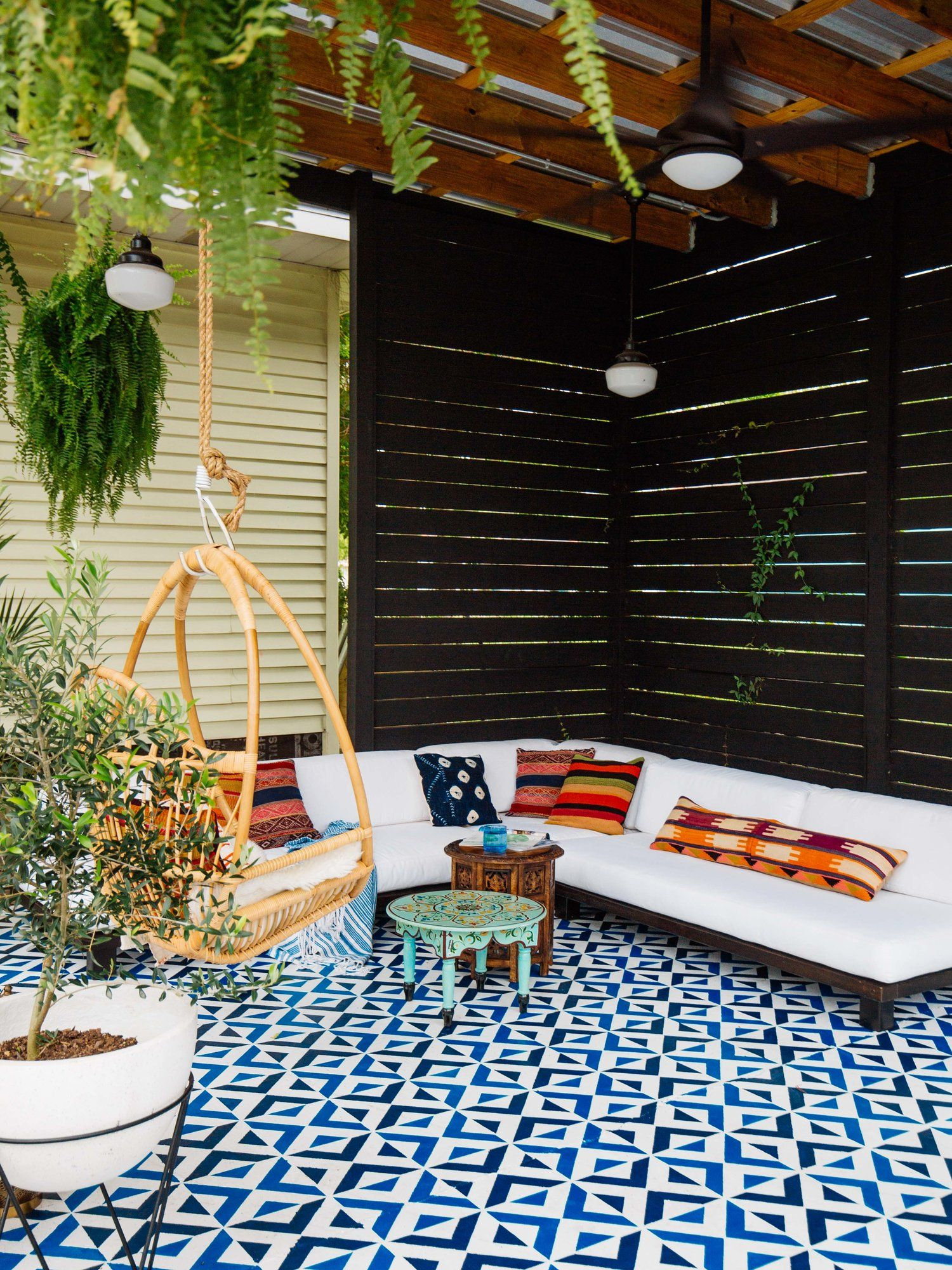Diy Paint Concrete Patio All The Angles Moroccan Wall Stencil Hostel Interiors