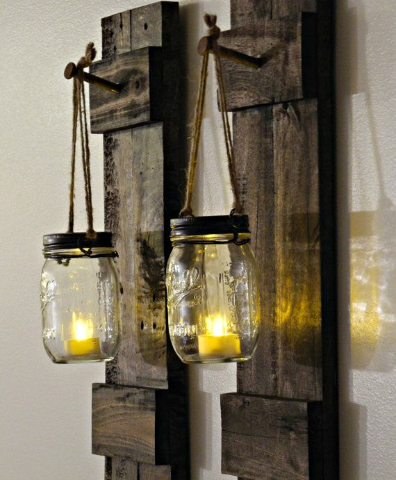 Rustic Wood Candle Holder Rustic Home Decor Sconce Candle Holder Mason Jar Decor Mason Jar Wood Candle Holder