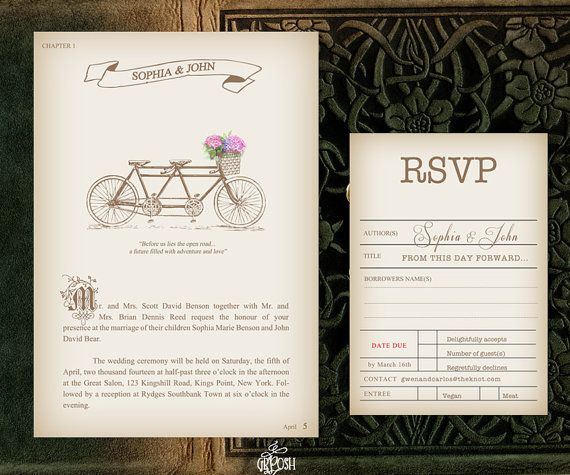 Tandem Bike Vintage Page Book Wedding Invitation by GBPosh on Etsy