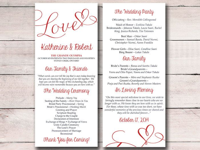 DIY Wedding Program Template - Heart Wedding Program Valentine Red - wedding program template