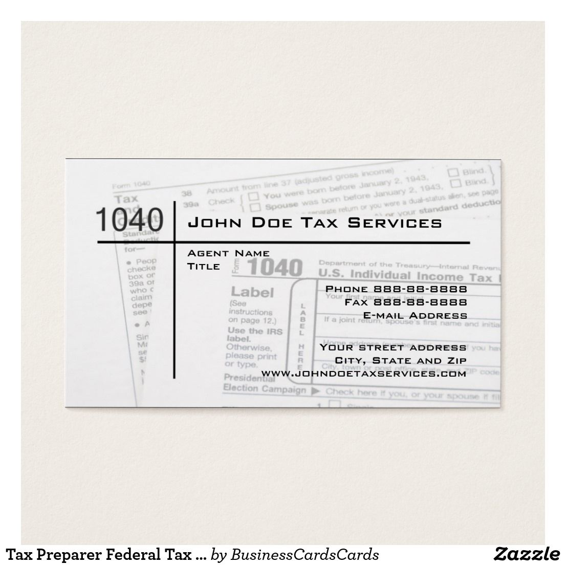 Tax Preparer Federal Tax Form Business Card Accountant Bookkeeper