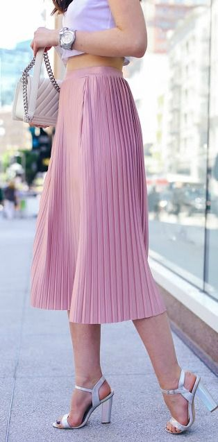 Pleated midi skirt.