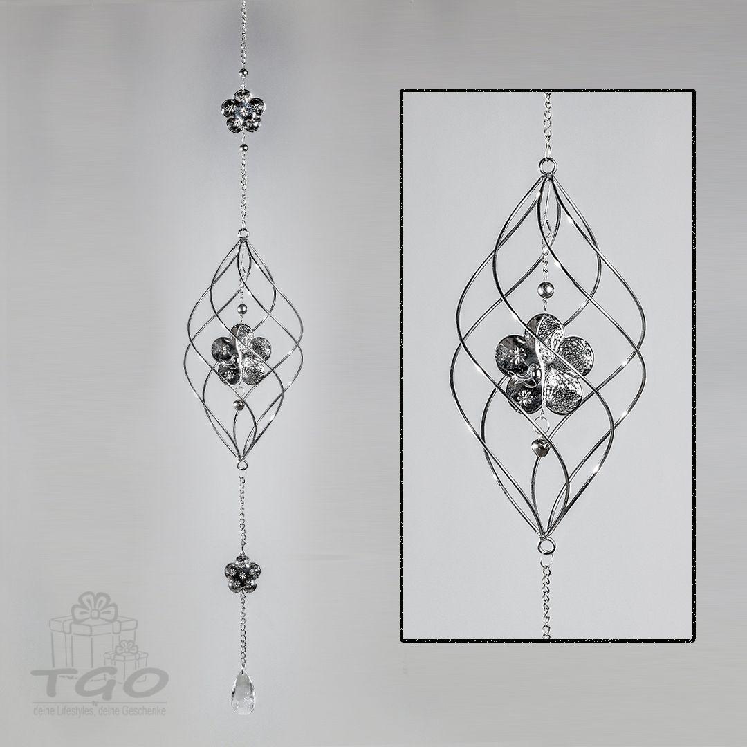 Dekohanger Fensterschmuck Blumen Silber 80cm Dekofernster