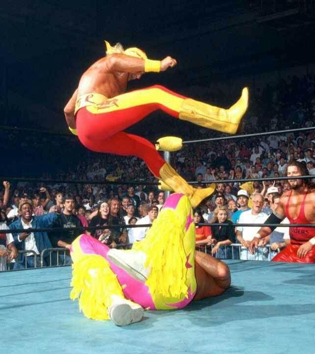 Hogan gives Savage a leg drop and turns heel | Wcw, Beach events, Wwe photos
