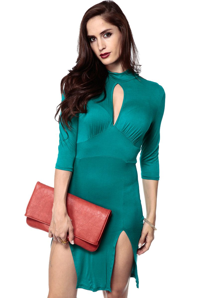 Double slit teal body con dress international shipping lovely