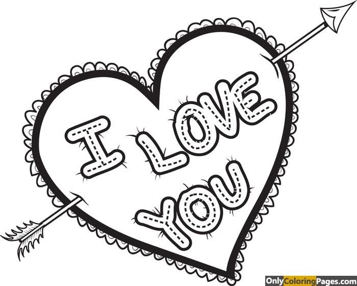 I Love You Heart Coloring Pages Free Online Printable Coloring