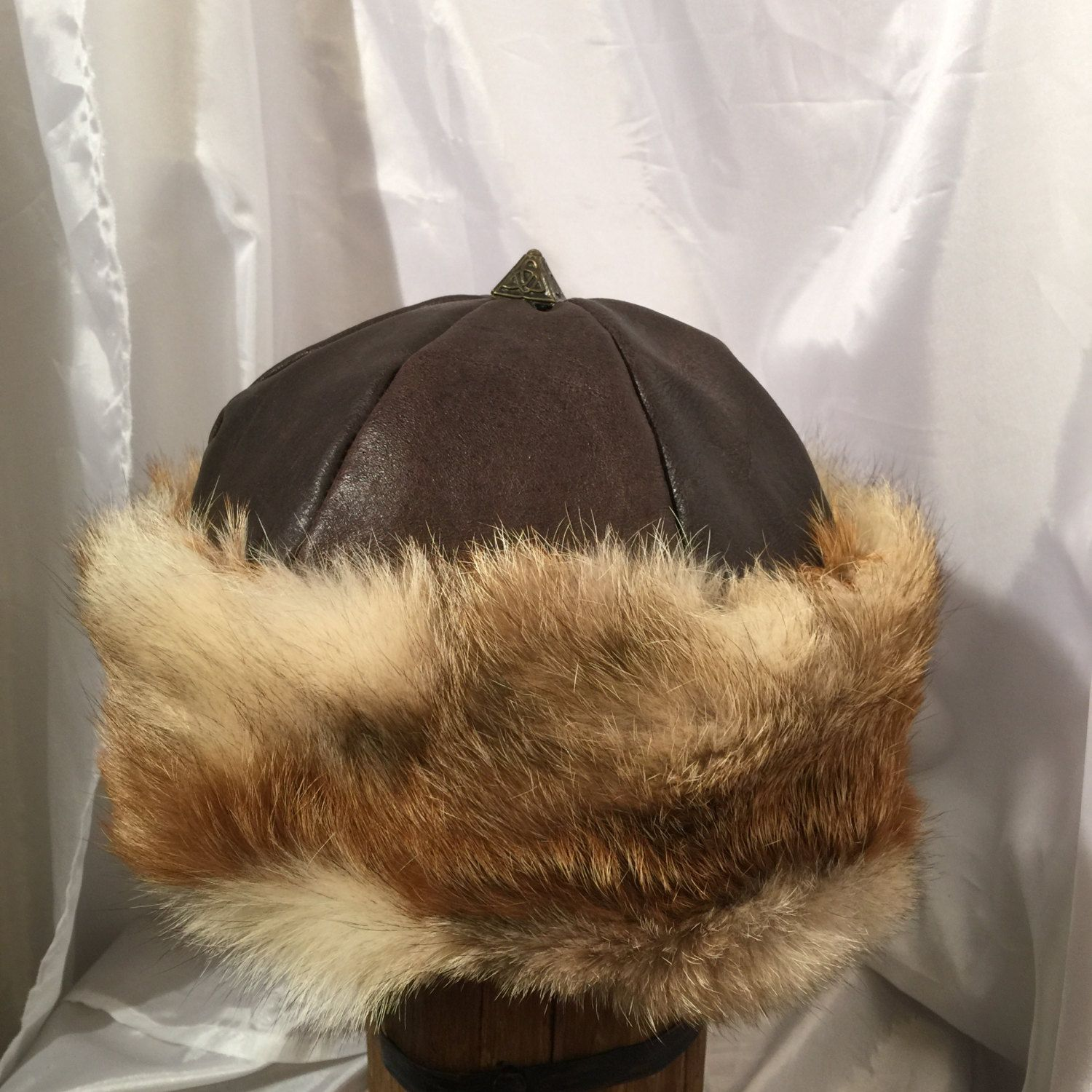 3bc2efb2 Beautiful Mongol, Mongolian, Russian, Viking hat with metal Celtic topper, brown  leather and fox fur by Micheleshats on Etsy