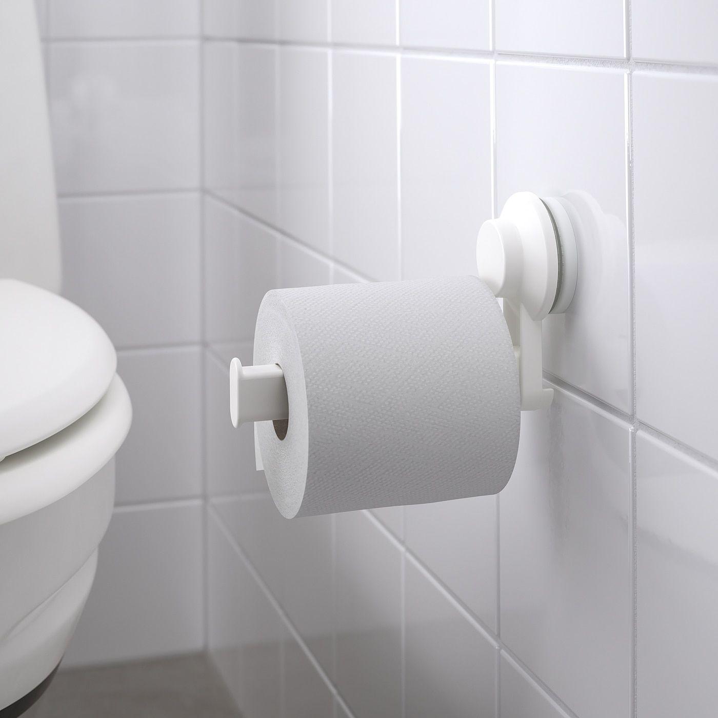 Tisken White Toilet Roll Holder With Suction Cup Ikea Toilet Roll Holder Toilet Accessories Toilet Paper Holder