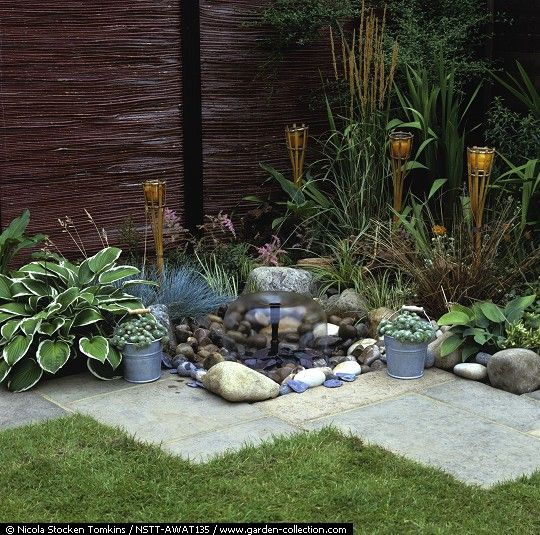 A simple water garden that doesn't really need a huge backyard space.