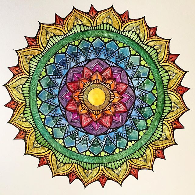 "Holiday Sale! Rainbow Mandala - watercolor and ink on Canson illustration board 16""x 16"" $55  Email me for inquiries acwaltzart@yahoo.com #artforsale #mandalaart #mandala #rainbow #watercolor #ink"