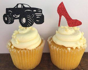 Wheels Or Heels Cupcake Gender Reveal Cupcake Toppers Gender