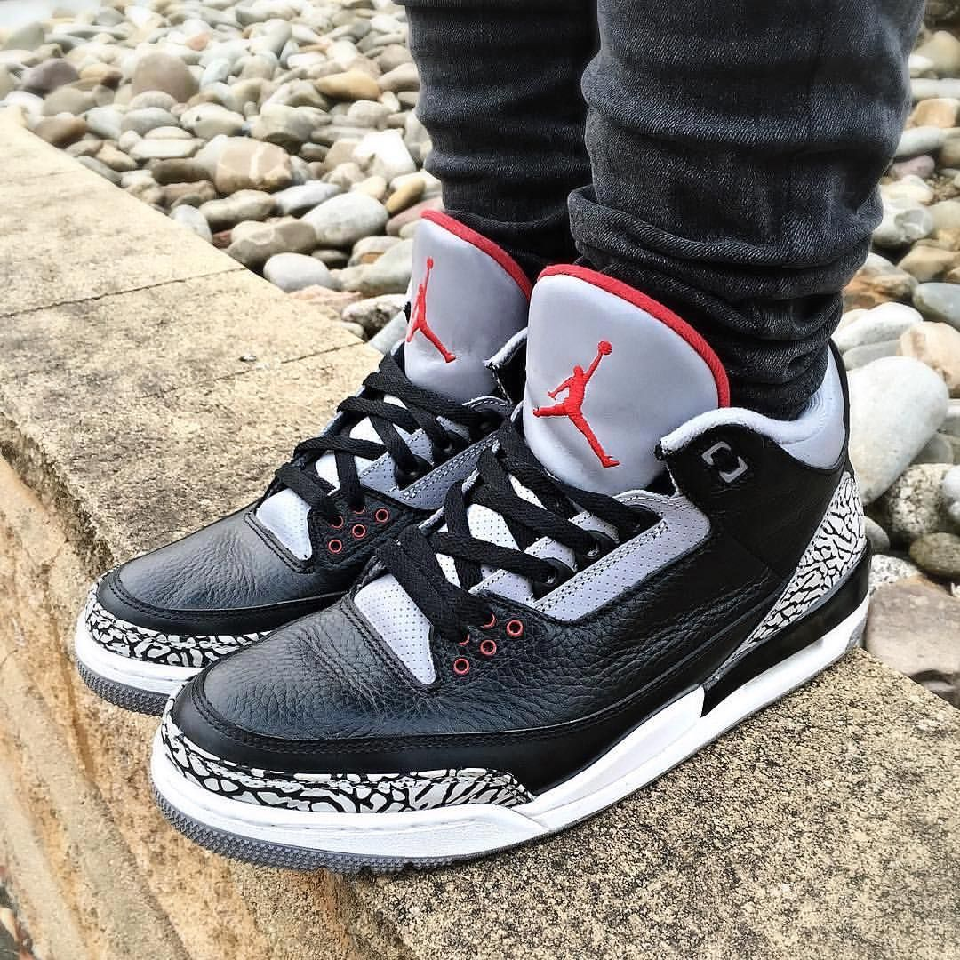 pretty nice cee5a 90959 Air Jordan 3  Black Cement     mm.k9x  WDYWT for on-feet photos  WDYWTgrid  for outfit lay down photos •