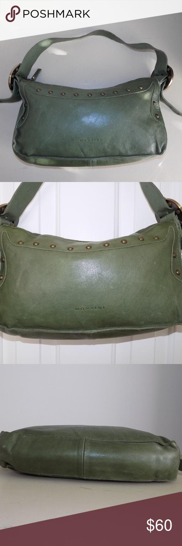 b4e2296e239d MONTINI Italian Leather Green Studded Purse Cute!! MONTINI green