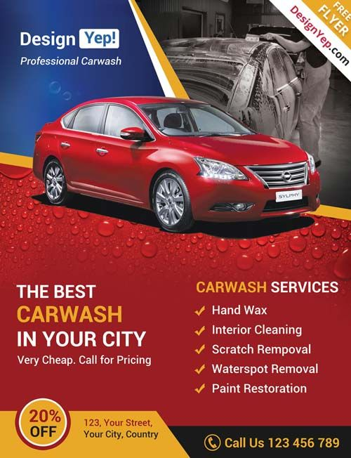 Car wash business free psd flyer template http for Car wash coupon template