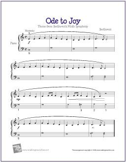 Ode To Joy Free Sheet Music For Easy Piano Different Levels