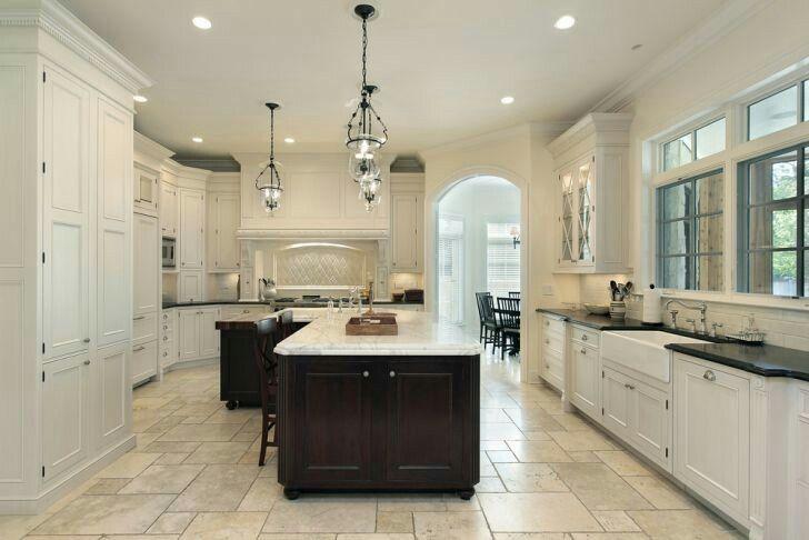 Love These Tile Floors Light Cabinets Dark Island Light Top Main Countertops Too Dark Farmhouse Kitchen Design Luxury Kitchens Dream Kitchens Design