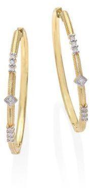 Jude Frances Lisse Triple Diamond & 18K Yellow Gold Hoop Earrings/1.3