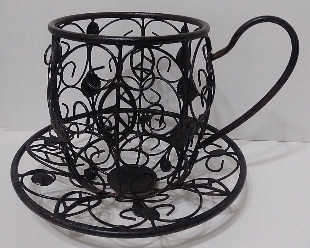 Lg Coffee Cup Saucer Planter Pot Holder Black Metal Cafe