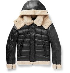 3d65540eb Moncler Tancrede Shearling-Lined Leather and Quilted Shell Jacket ...