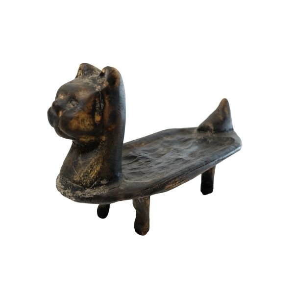 Carved wooden figure of a cat