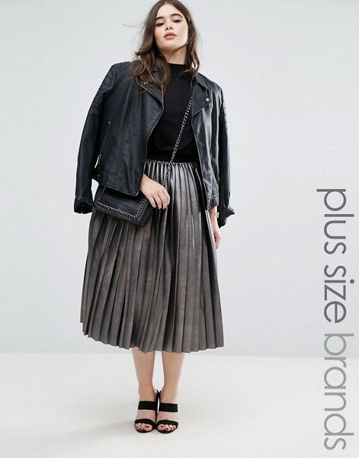 a16965f5619 Elvi Metallic Pleated Skirt