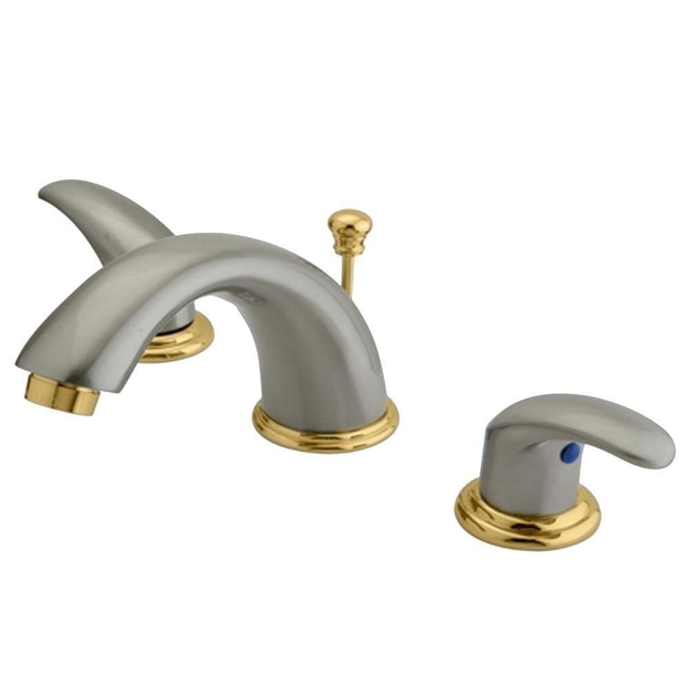 Kingston Satin Nickel/Polished Brass Widespread Bathroom Faucet ...