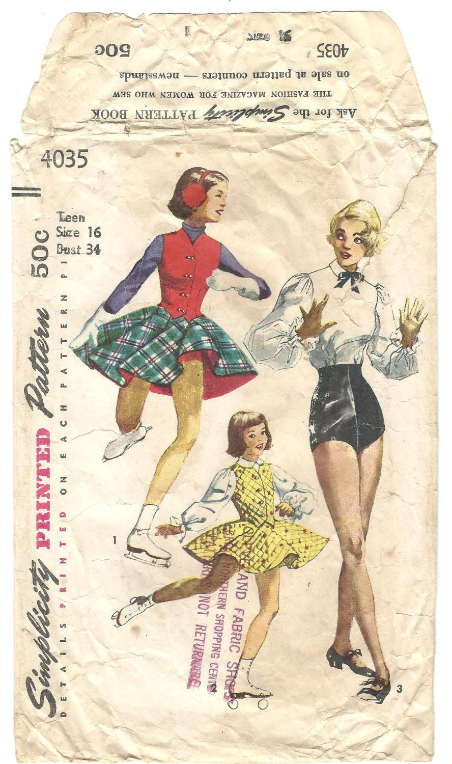 Vintage 50s Simplicity 4035 Sewing Pattern Tap dance trunksHigh ...