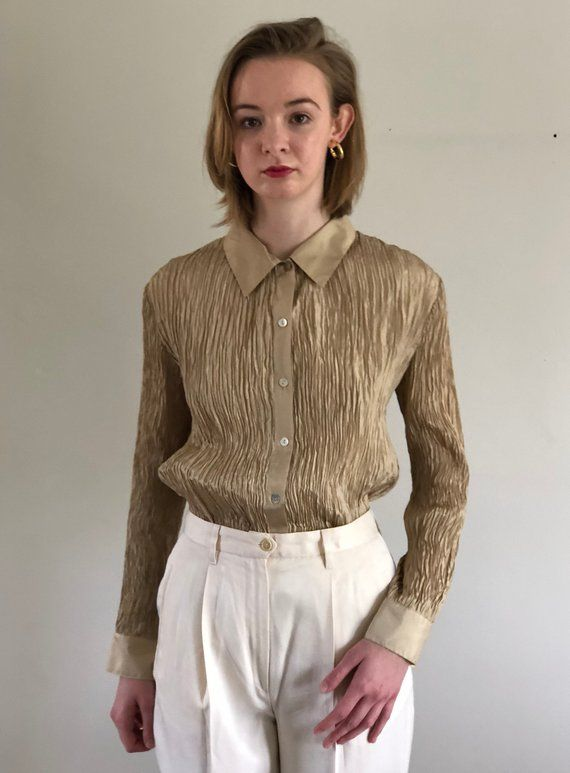 eaa9b452ee555 90s micro pleated champagne silk blouse   pure silk micro pleat blouse  vintage gold silk blouse
