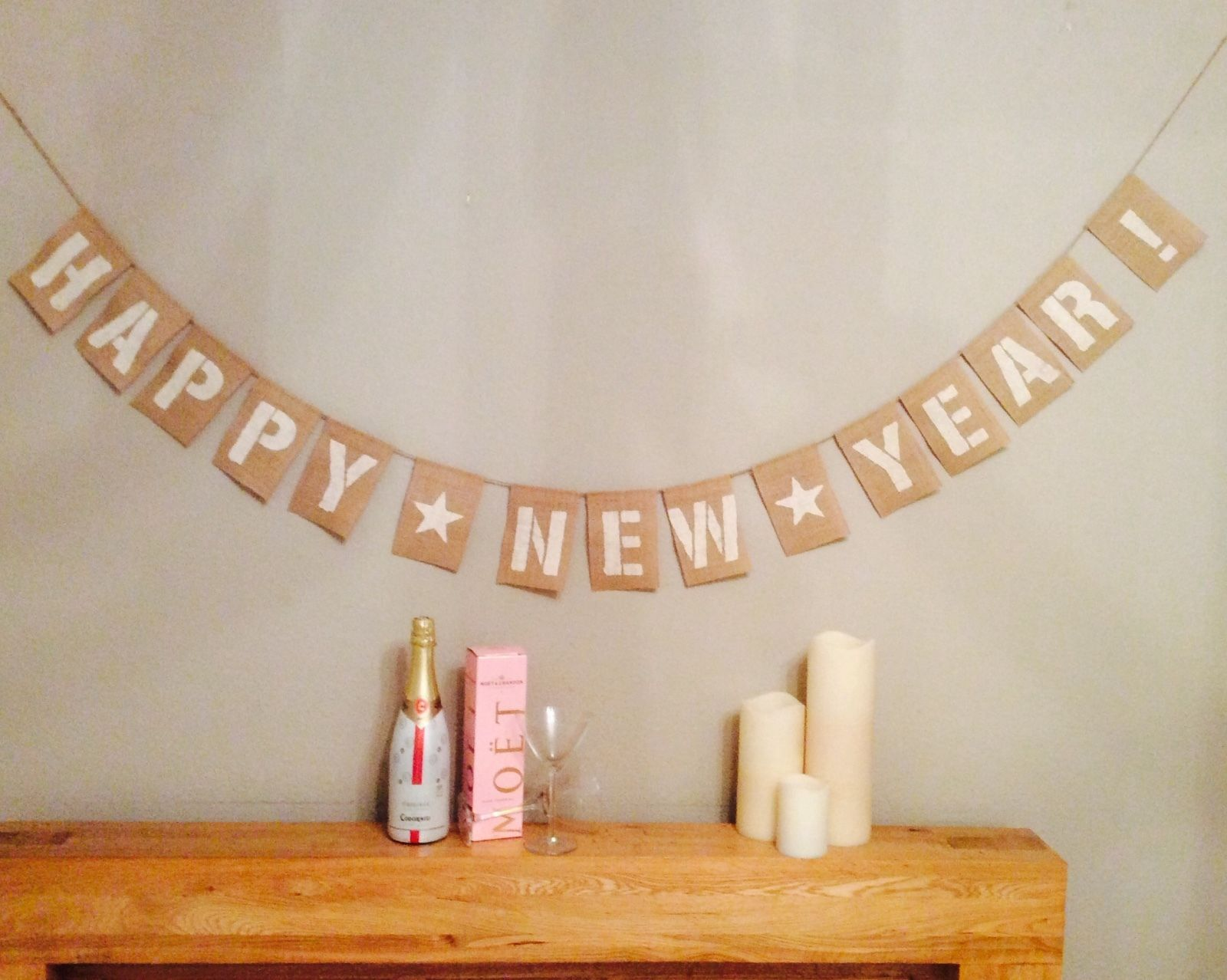 happy new year bunting banner news years eve hessian burlap ebay