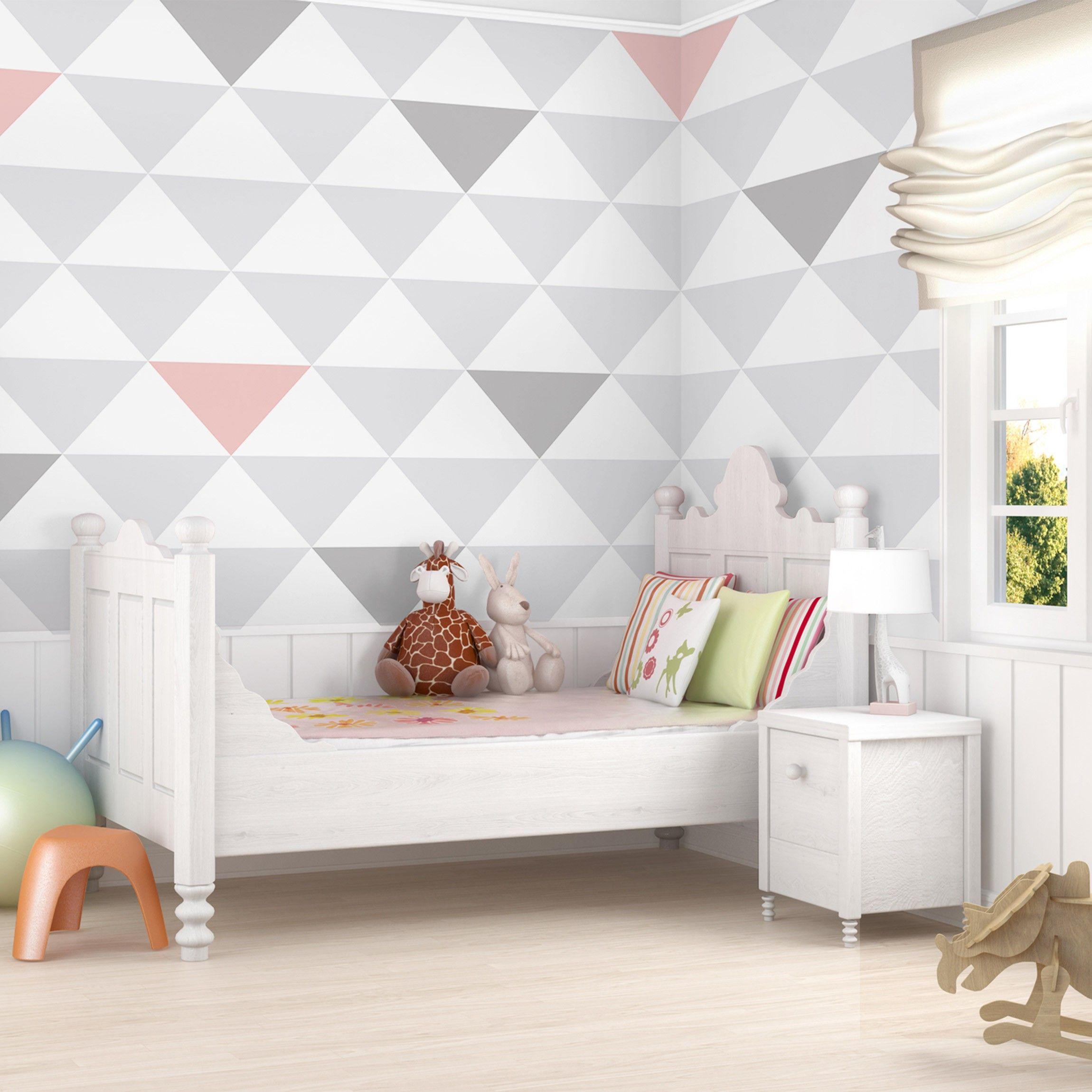 Mustertapete für Kinderzimmer - No.YK65 Dreiecke Grau Weiß Rosa ...