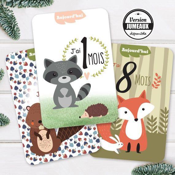 Carte Etape Bébé – Cartes étapes Bébé – Carte etapes bébé – Cadeau Naissance – Cadeau bébé – Renard – Carte étape animaux de la forêt
