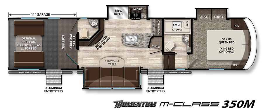 Momentum Fifth-Wheel Toy Hauler Floorplans | Grand Design RV