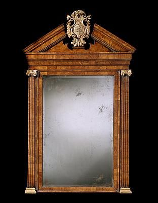 A GEORGE II WALNUT AND PARCEL GILT MIRROR - English Antique Furniture – Ronald Phillip...