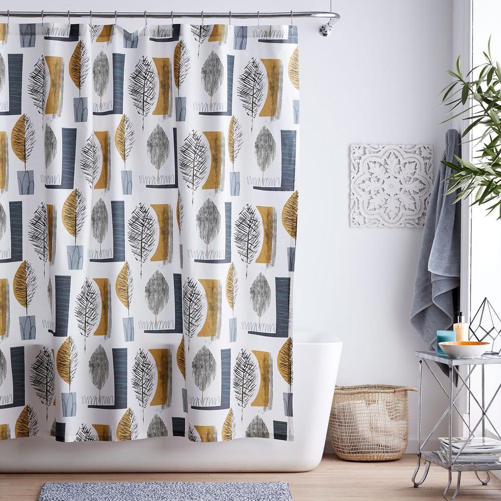 Liah Linen Look Fabric Single Shower Curtain Fabric Shower