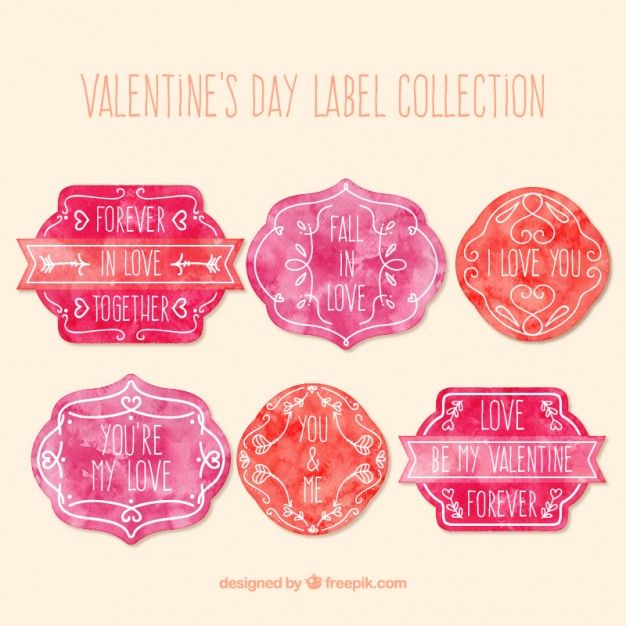 Hand Painted ValentineS Day Labels In Pink And Red Color Free