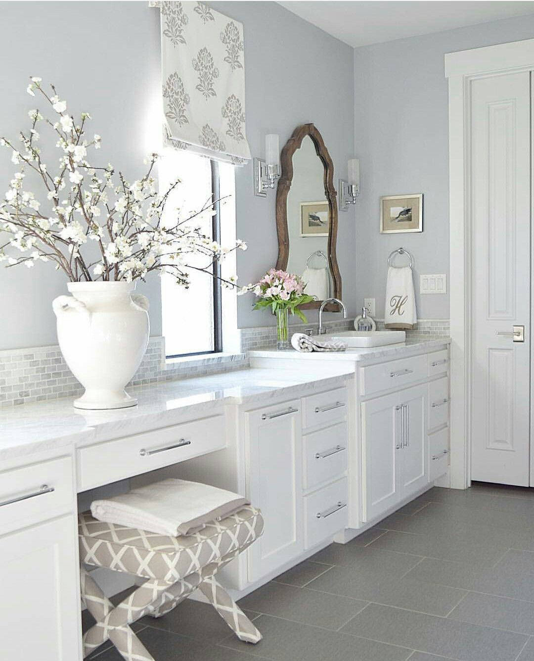 Pink beige floor, white granite with grey, and light grey wall would ...