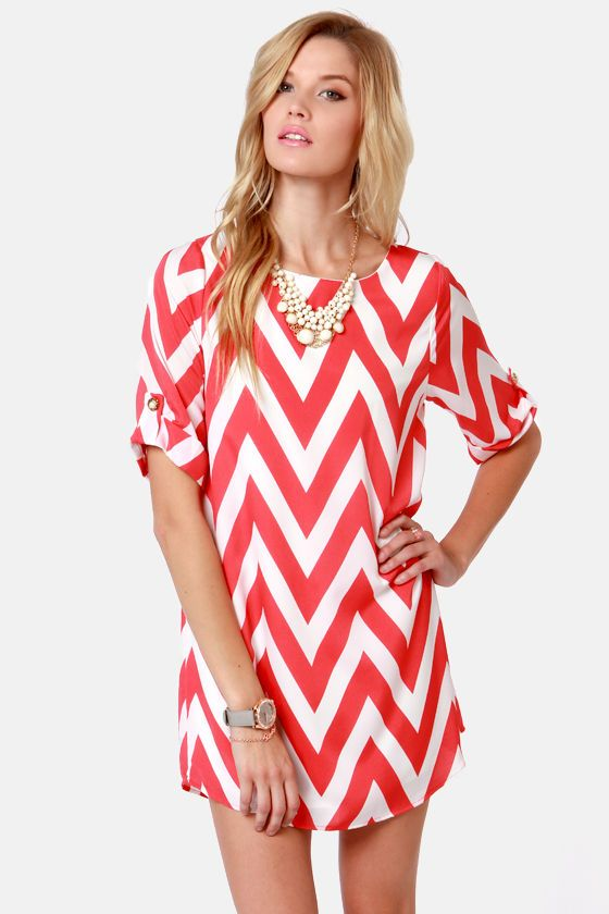 Can You Zig It? Coral Pink Chevron Print Dress | Topdress, Summer ...