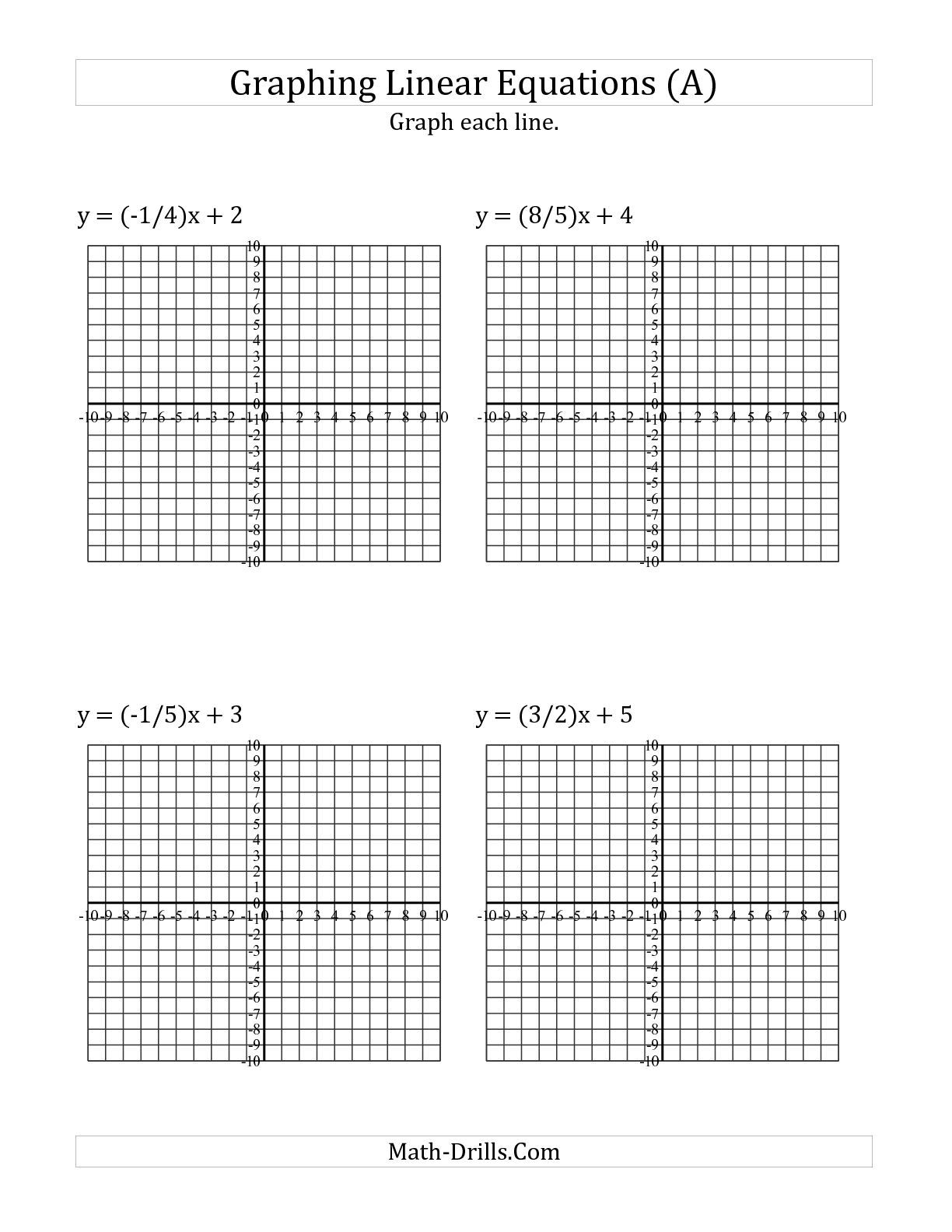 The Graph a Linear Equation in Slope-Intercept Form (A) math worksheet from  the Algebra…   Graphing linear equations [ 1584 x 1224 Pixel ]