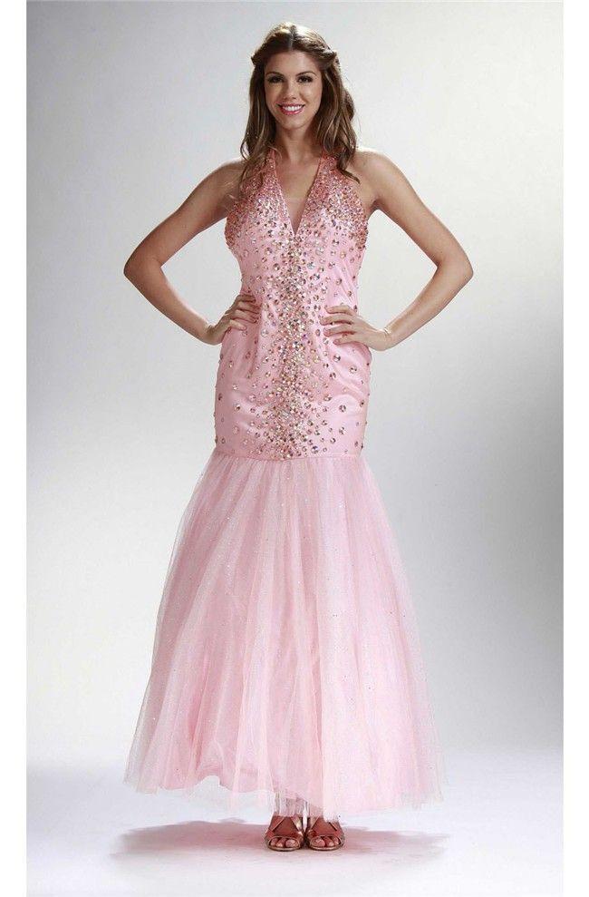 Mermaid Halter Ankle Length Light Pink Tulle Beaded Prom Dress ...