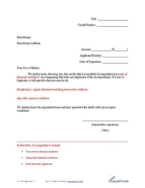 Letter of Credit Example Financial institutions and Template - credit note letter