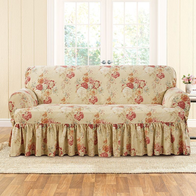 Sure Fit Waverly Ballad Bouquet T Sofa Slipcover Beig Green