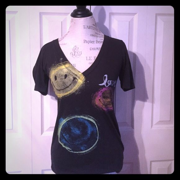 Junk Food graphic tee Smiley face graphic v-neck tee from Junk Food. Hardly worn! Junk Food Tops Tees - Short Sleeve