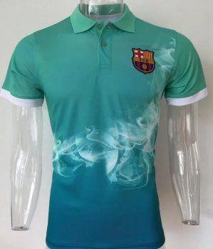 2017 Polo Jersey Barca Smoke Pattern Green Shirt  AFC524   c88be3596e33d