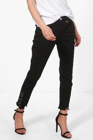 #boohoo High Rise D-Ring Detail Skinny Jeans - black #Jessie High Rise D-Ring Detail Skinny Jeans - black