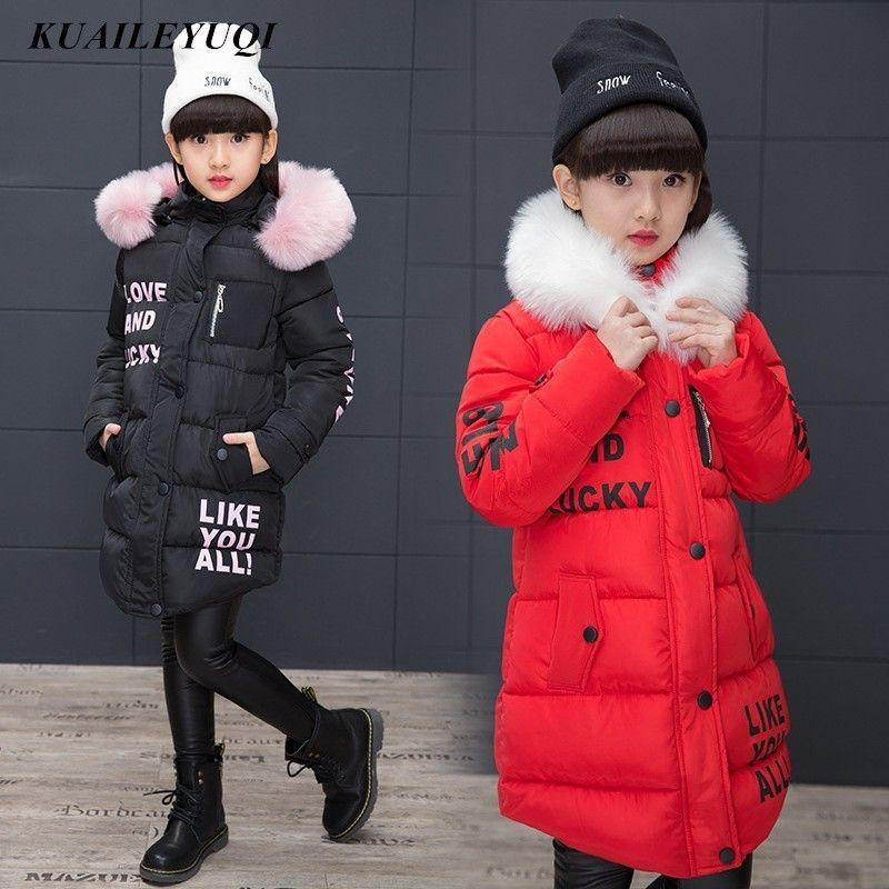 Kids Girls Fur Hooded Cotton Padded Coat Winter Warm Long Jacket Parka Outercoat