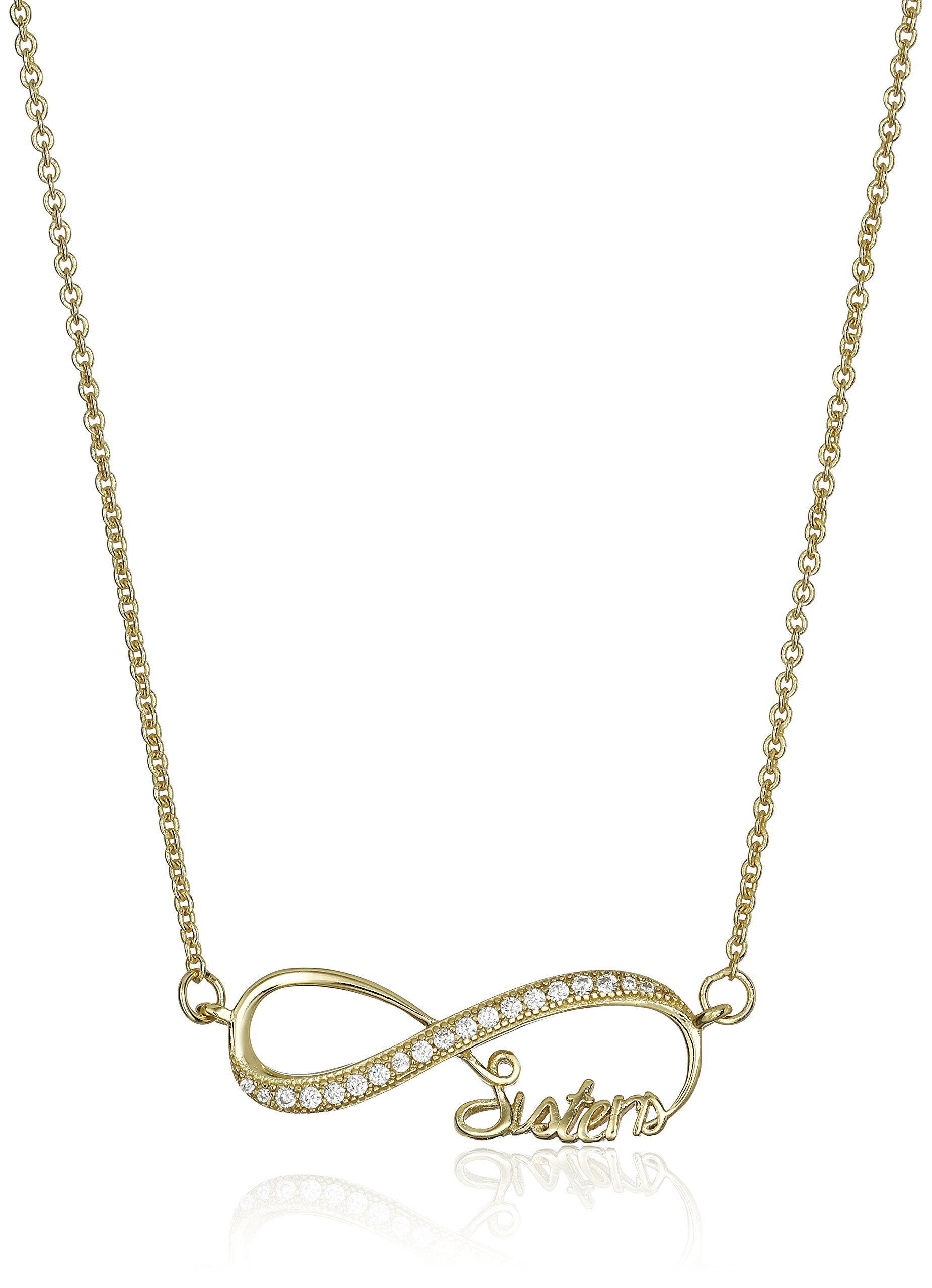 Gold plated sterling silver cubic zirconia infinity sisters pendant gold plated sterling silver cubic zirconia infinity sisters pendant necklace 18 aloadofball Choice Image