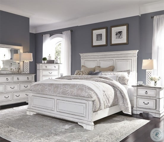 Abbey Park Antique White Panel Bedroom Set