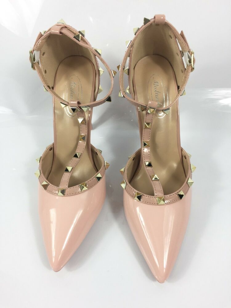 Womens Pink Shoes Ladies High Heels Pointed Toe T-Strap Party Court Size 4  New  shoes  pink  courtshoes  highheels  pvc  stiletto  anklestrap  tstrap  ... 585e0dbb71