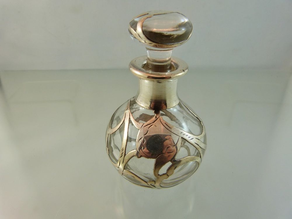 Sterling Silver Overlay On Glass Perfume Bottle Scroll Design Extraordinary Perfume Bottles Decorative Arts
