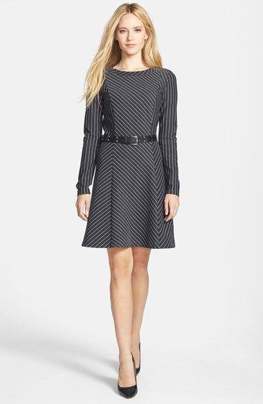 MICHAEL Michael Kors Belted Pinstripe Fit & Flare Dress (Regular & Petite) | Nordstrom